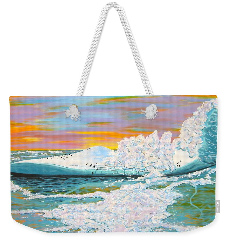 Ice Weekender Tote Bag featuring the painting The Last Iceberg by V Boge