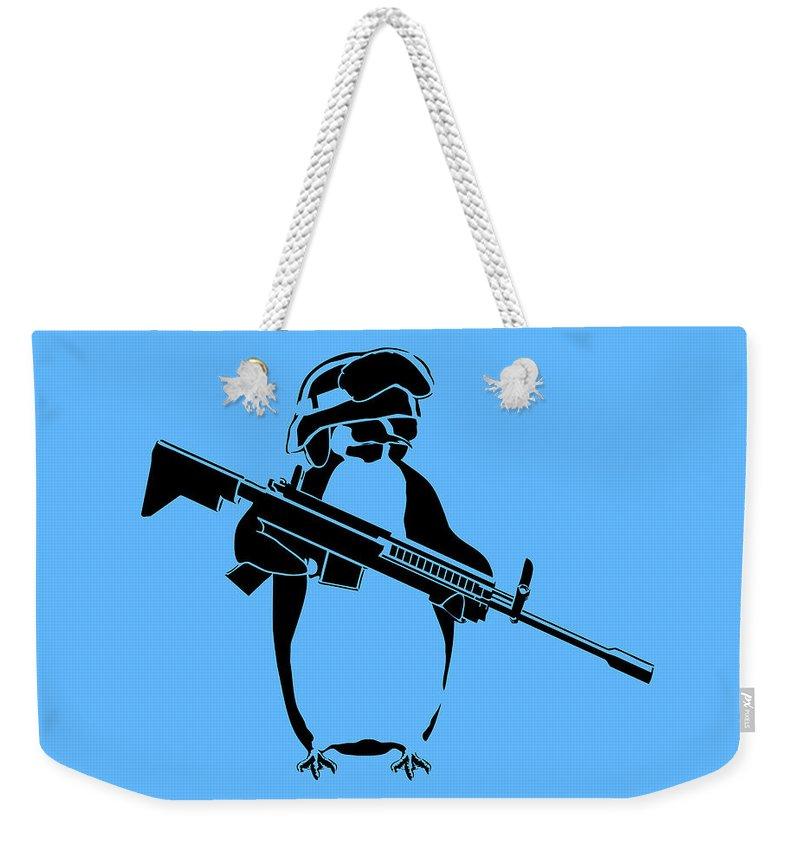Penguin Weekender Tote Bag featuring the digital art Penguin Soldier by Pixel Chimp