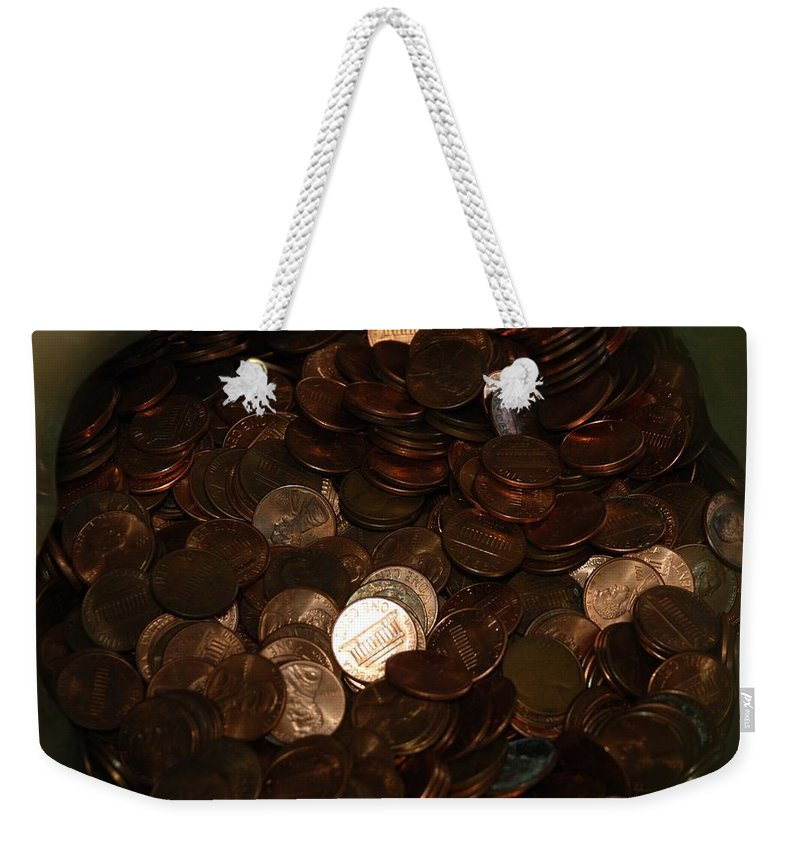 Pennies Weekender Tote Bag featuring the photograph Pennies by Rob Hans