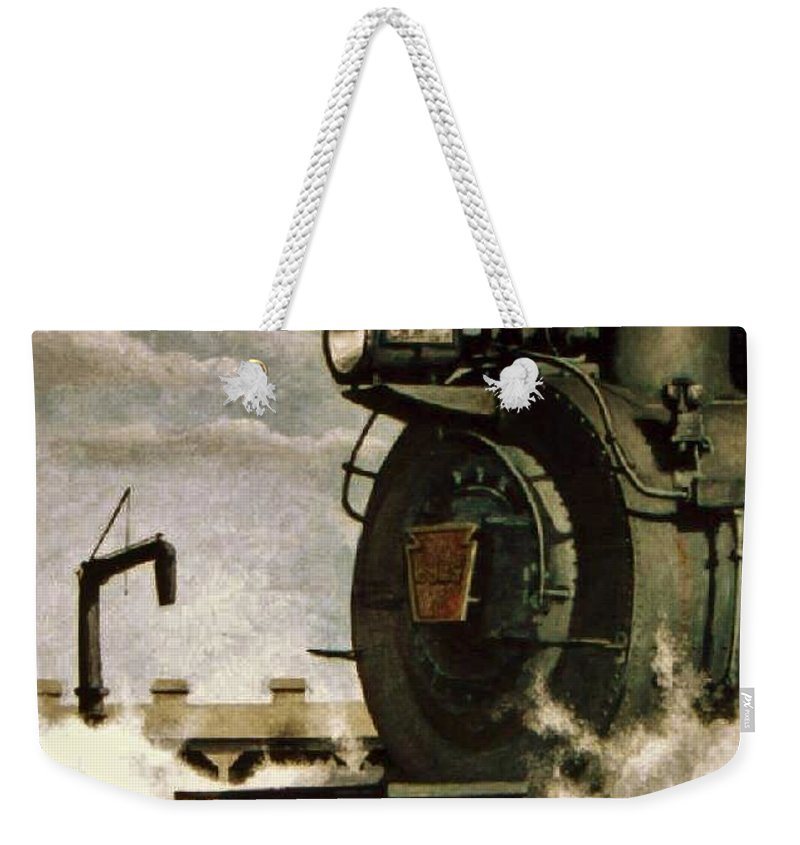 Pennsylvania Railroad Prr Train Painting Railroad Maryland And Pennsylvania Autumn Fall Colors Steam Engine Weekender Tote Bag featuring the painting Pennsy M1 by David Mittner