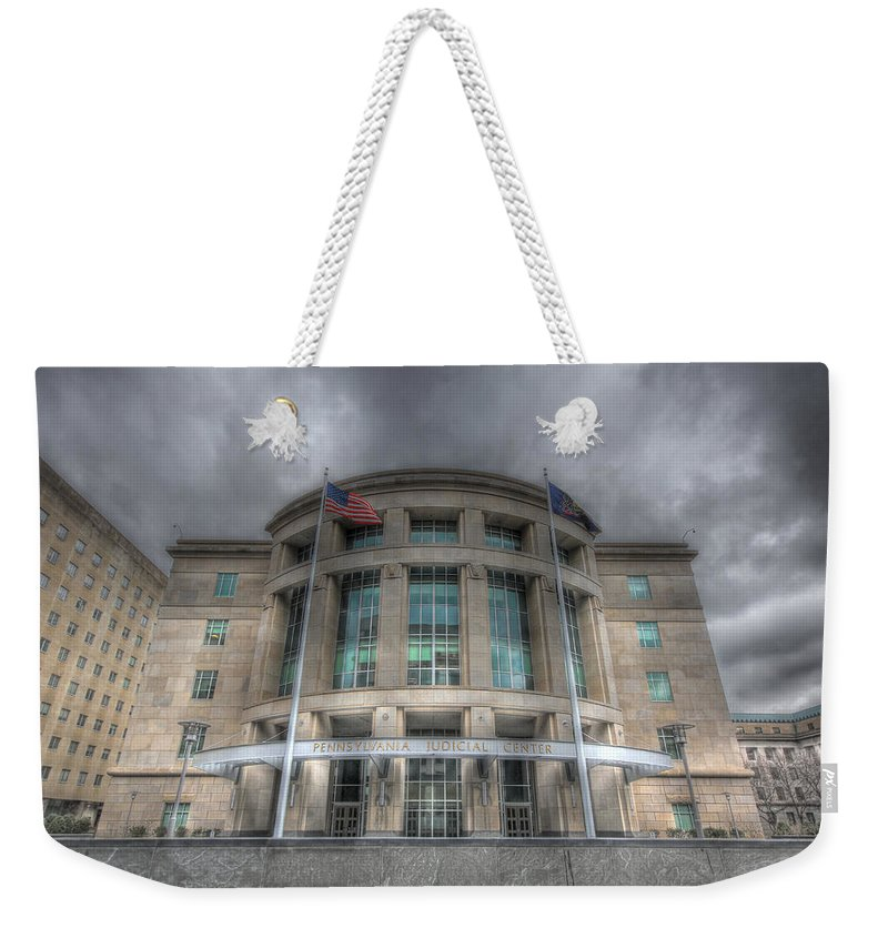 Harrisburg Weekender Tote Bag featuring the photograph Pennsylvania Judicial Center by Shelley Neff