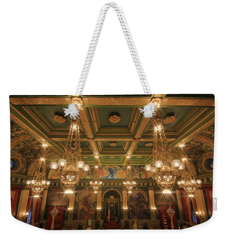 Pennsylvania Weekender Tote Bag featuring the photograph Pennsylvania Senate Chamber by Shelley Neff