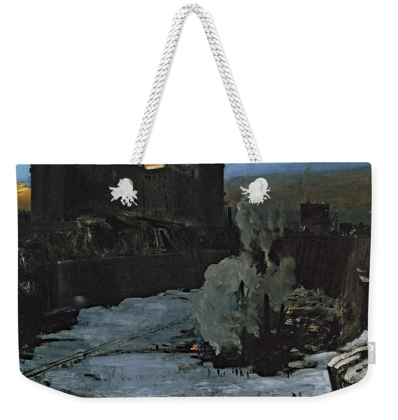 Pennsylvania Station Excavation Weekender Tote Bag featuring the photograph Pennsylvania Station Excavation by George Bellows
