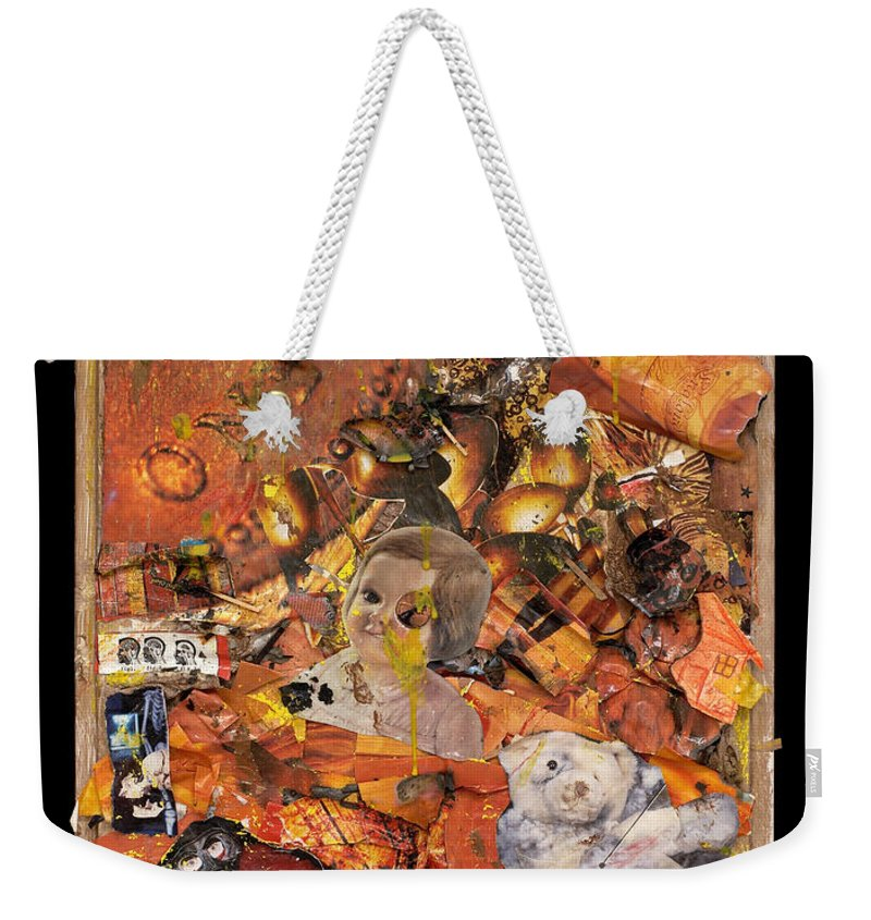 Penny Weekender Tote Bag featuring the mixed media Penny And A Cigarette by Jaime Becker