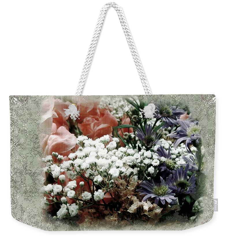 Flowers Weekender Tote Bag featuring the painting Penny Postcard Romantica by RC DeWinter