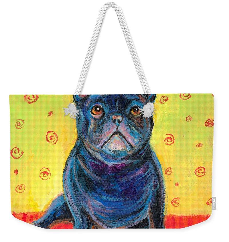 French Bulldog Art Weekender Tote Bag featuring the painting Pensive French Bulldog Painting Prints by Svetlana Novikova