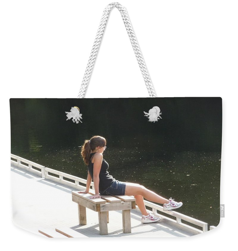 Pretty Girl Weekender Tote Bag featuring the photograph Pensive by Ruth Kamenev