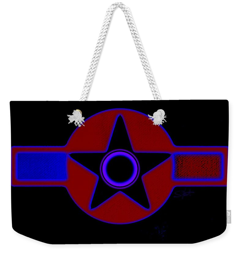 Usaaf Weekender Tote Bag featuring the painting Pentagram In Red by Charles Stuart