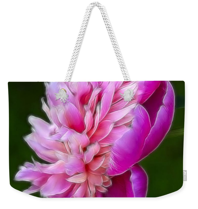 Flower Weekender Tote Bag featuring the photograph Peonie Debut by Deborah Benoit