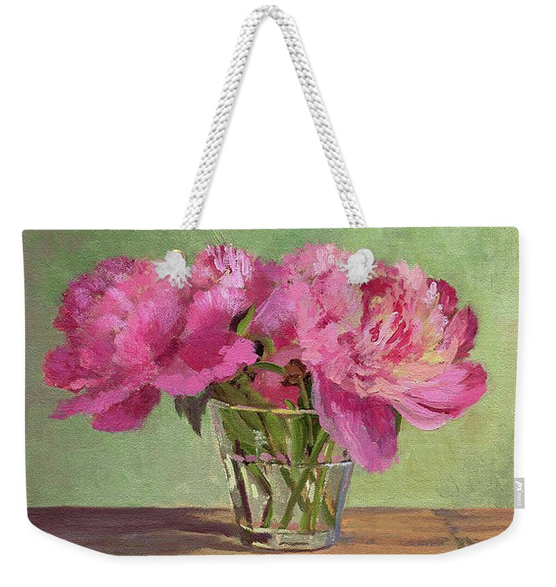 Still Weekender Tote Bag featuring the painting Peonies In Tumbler by Keith Burgess