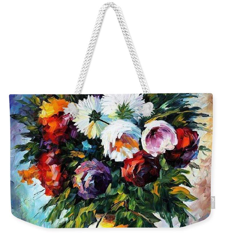 Afremov Weekender Tote Bag featuring the painting Peonies by Leonid Afremov