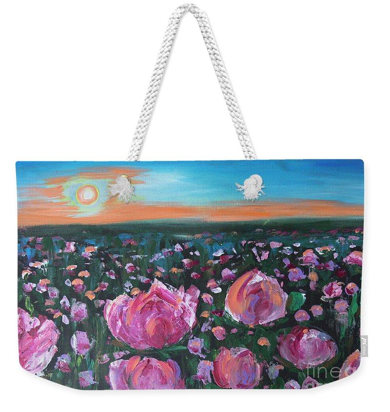 Peonies Weekender Tote Bag featuring the painting Peonies by Yana Sadykova