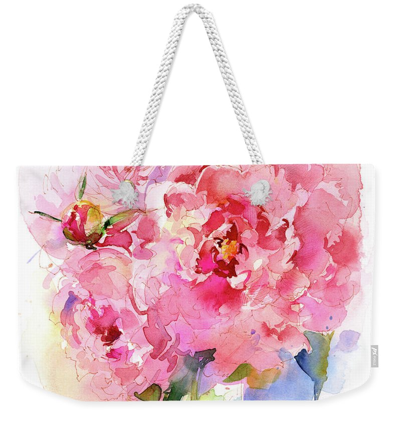 Peony Weekender Tote Bag featuring the painting Peony Bouquet by John Keeling