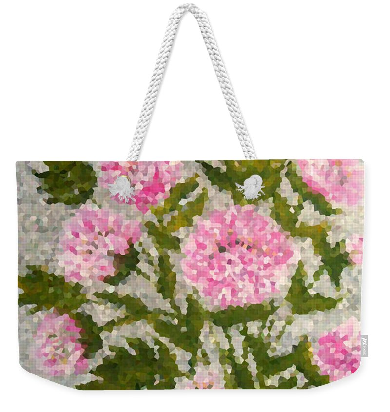 Digital Photo Weekender Tote Bag featuring the digital art Peony Bush  by Barbara Griffin