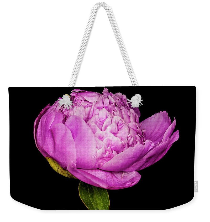 Peony Weekender Tote Bag featuring the photograph Peony I by Mike Valdez