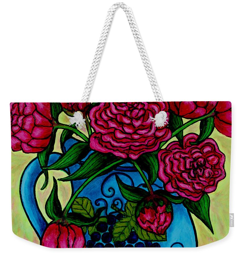 Peonies Weekender Tote Bag featuring the painting Peony Party by Lisa Lorenz