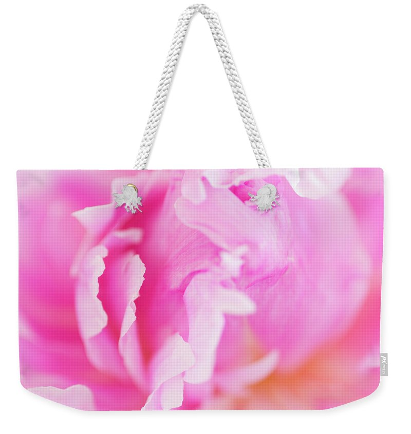 Flower Weekender Tote Bag featuring the photograph Peony Petals by Mike Valdez