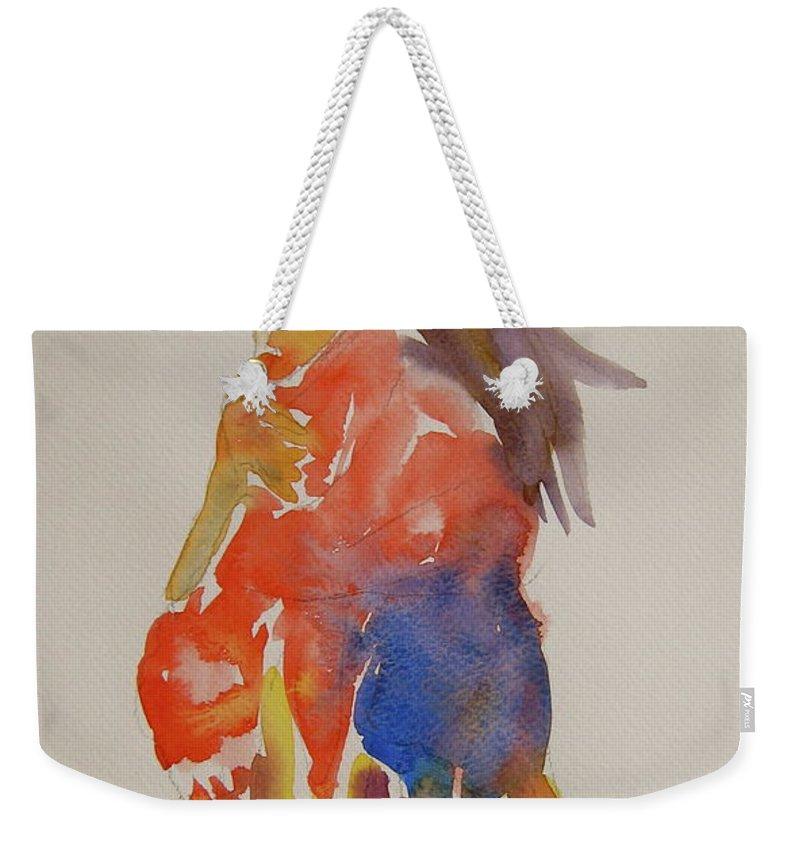 Figure Weekender Tote Bag featuring the painting People Turned Away by Beverley Harper Tinsley
