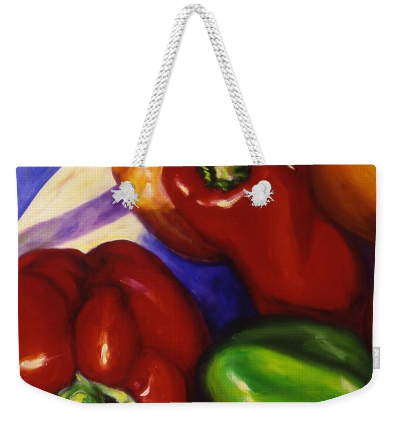 Still Life Peppers Weekender Tote Bag featuring the painting Peppers in the Round by Shannon Grissom