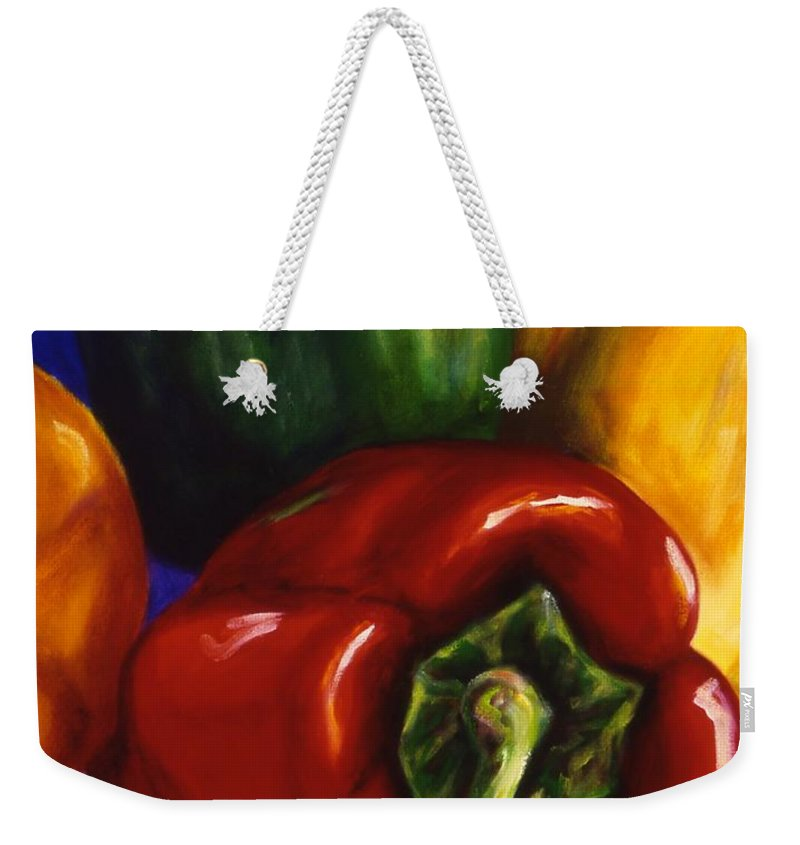 Still Life Weekender Tote Bag featuring the painting Peppers On Peppers by Shannon Grissom