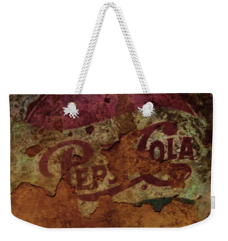 Pepsicola Weekender Tote Bag featuring the mixed media Pepsi Cola Vintage Sign 5a by Brian Reaves