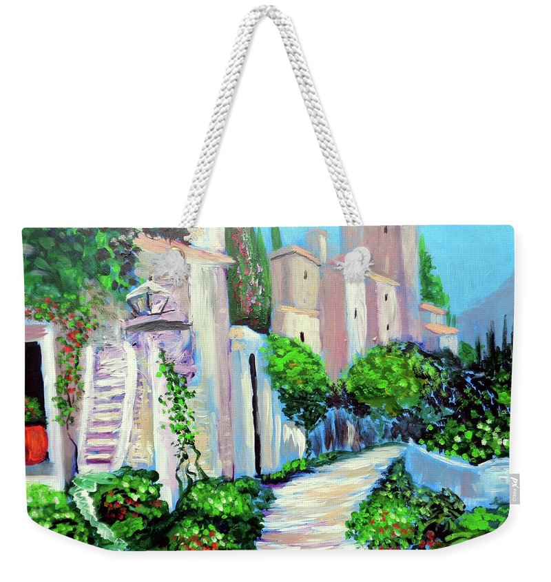Percorso Di Colore Weekender Tote Bag featuring the painting Percorso Di Colore by Larry Cirigliano