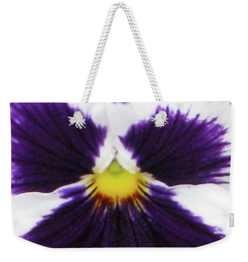 Pansy Weekender Tote Bag featuring the photograph Perfectly Pansy 01 by Pamela Critchlow