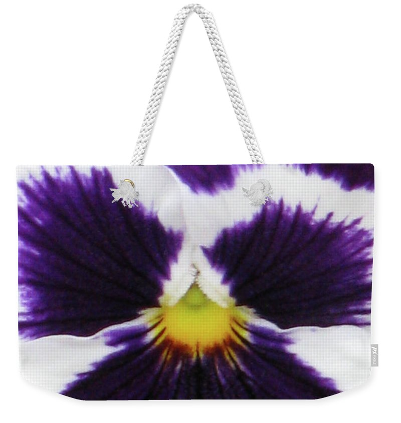 Pansy Weekender Tote Bag featuring the photograph Perfectly Pansy 02 by Pamela Critchlow
