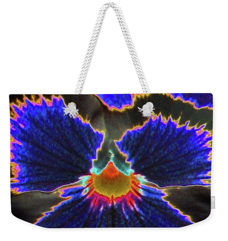 Pansy Weekender Tote Bag featuring the photograph Perfectly Pansy 02 - Photopower by Pamela Critchlow