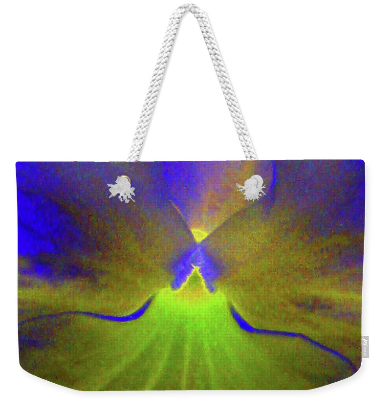 Pansy Weekender Tote Bag featuring the photograph Perfectly Pansy 08 - Photopower by Pamela Critchlow