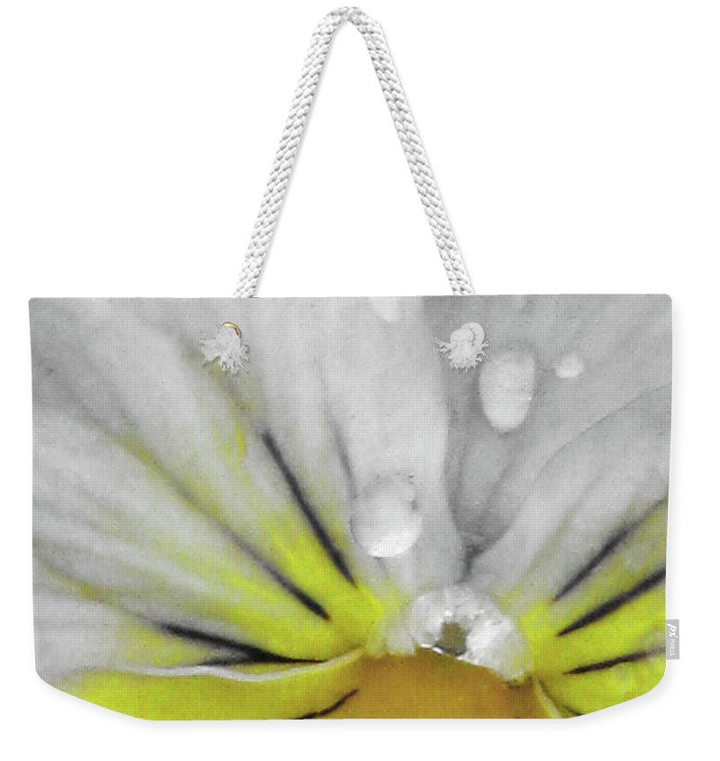 Pansy Weekender Tote Bag featuring the photograph Perfectly Pansy 16 - Bw - Yellow by Pamela Critchlow