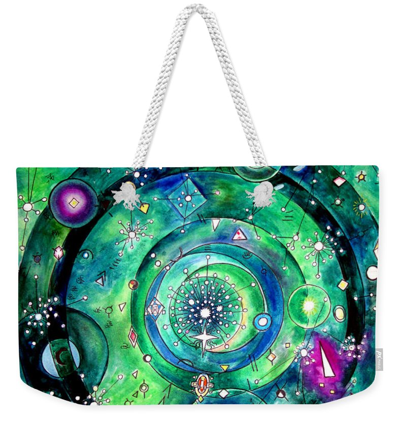 Periodic Weekender Tote Bag featuring the painting Universe Inside Of Electrons. Periodic Table Of The Elements by Sofia Metal Queen