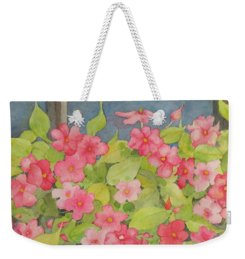 Flowers Weekender Tote Bag featuring the painting Perky by Mary Ellen Mueller Legault