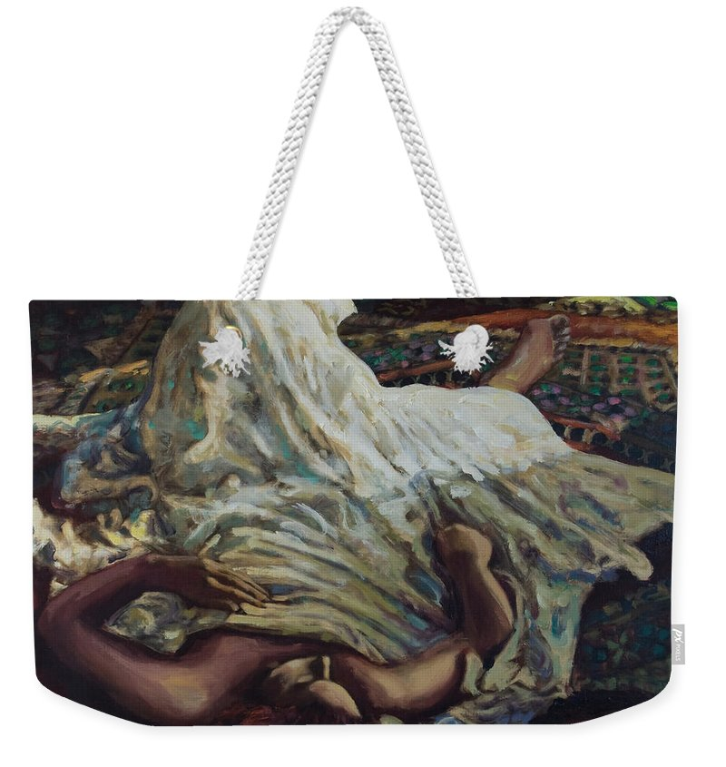 Figurative Weekender Tote Bag featuring the painting Persian Rugs by Rick Nederlof