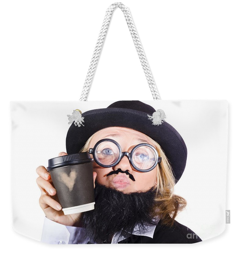Adult Weekender Tote Bag featuring the photograph Person With Cup Of Coffee by Jorgo Photography - Wall Art Gallery
