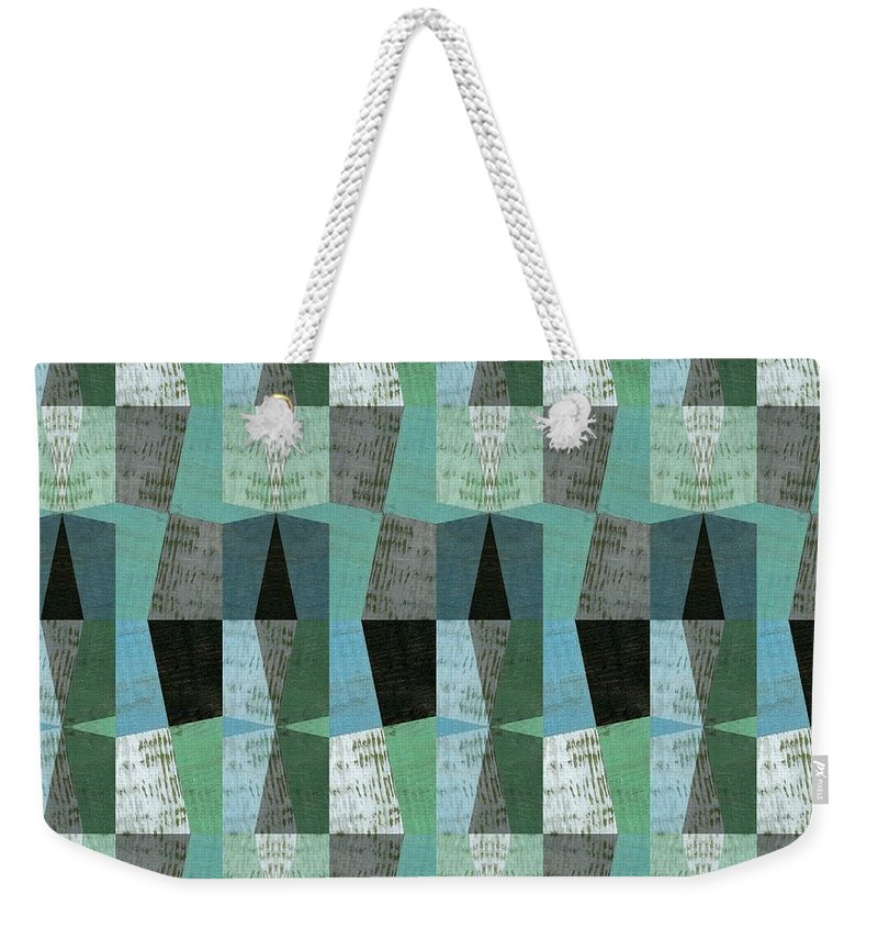 Aqua Weekender Tote Bag featuring the digital art Perspective Compilation With Wood Grain And Teal by Michelle Calkins