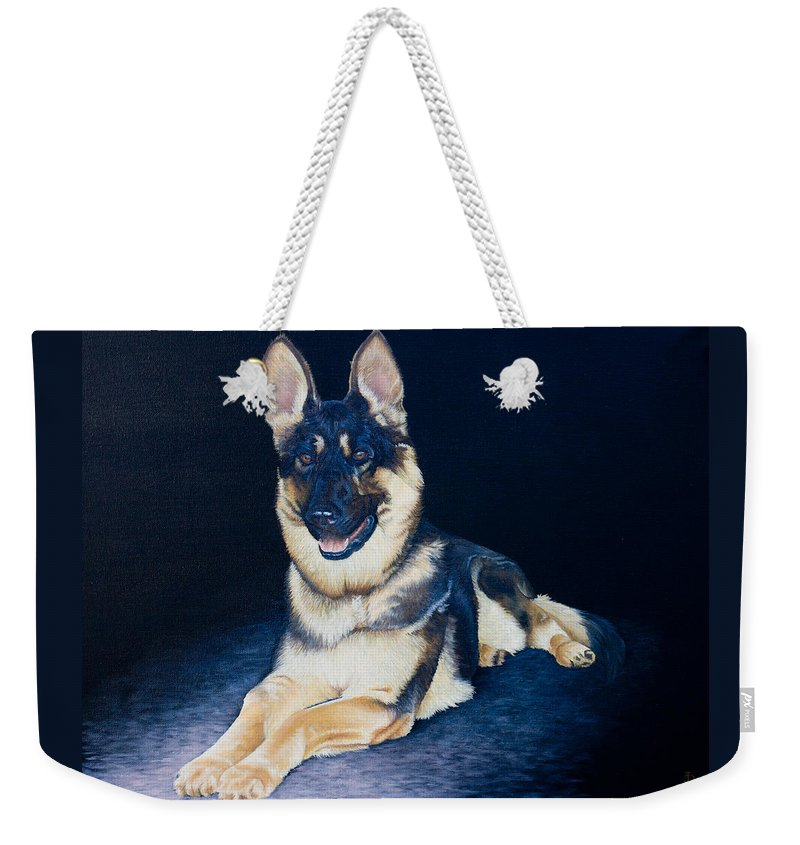 Dog Weekender Tote Bag featuring the painting Pet Commission-shaka by Pauline Sharp