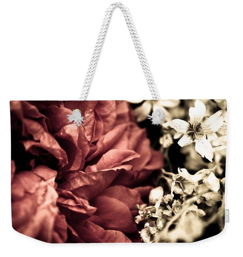 Flower Weekender Tote Bag featuring the photograph Petal Rift by Danielle Silveira