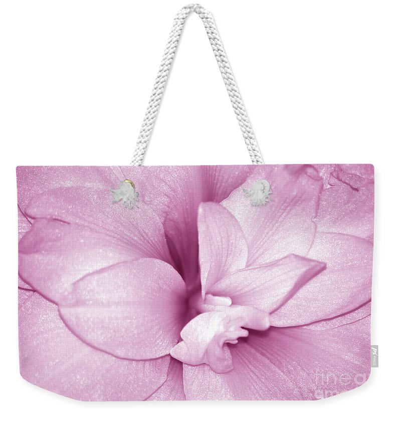 Amaryllis Weekender Tote Bag featuring the photograph Petals In Pink by Lori Tambakis
