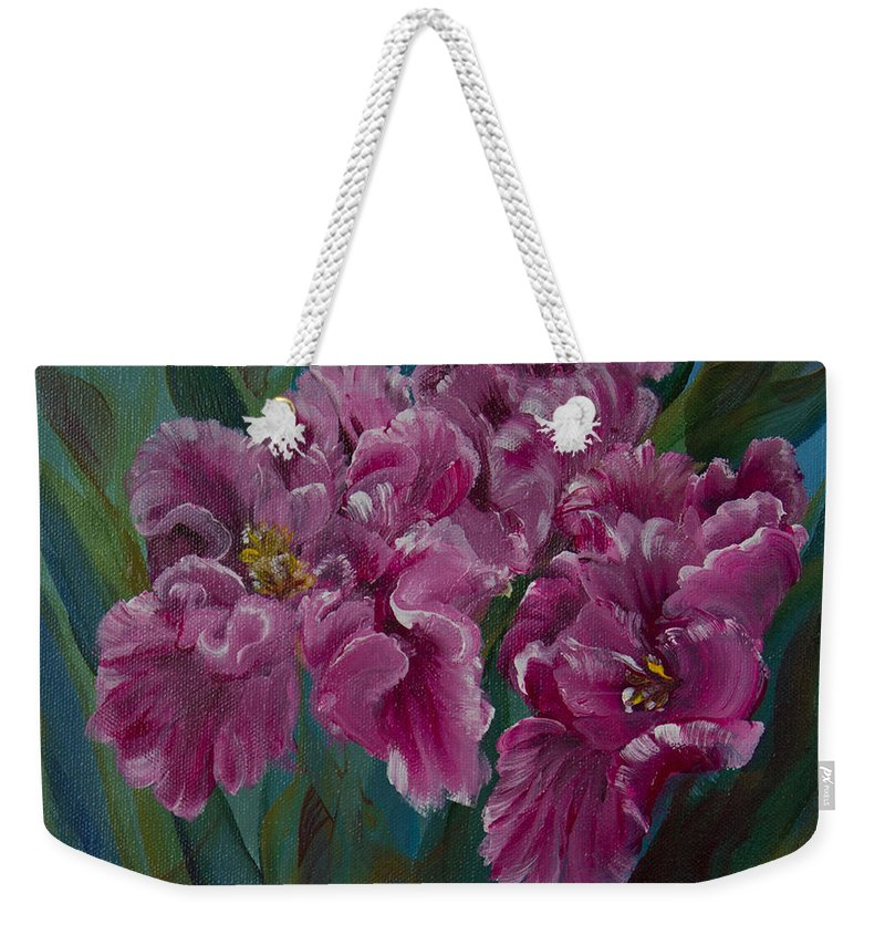 Flowers Weekender Tote Bag featuring the painting Parrot Tulips by Jacqueline Whitcomb