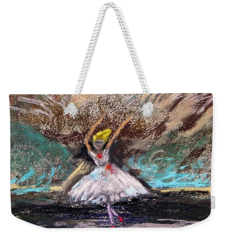 Little Ballerina Weekender Tote Bag featuring the painting Petite Ballerina by Mary Carol Williams