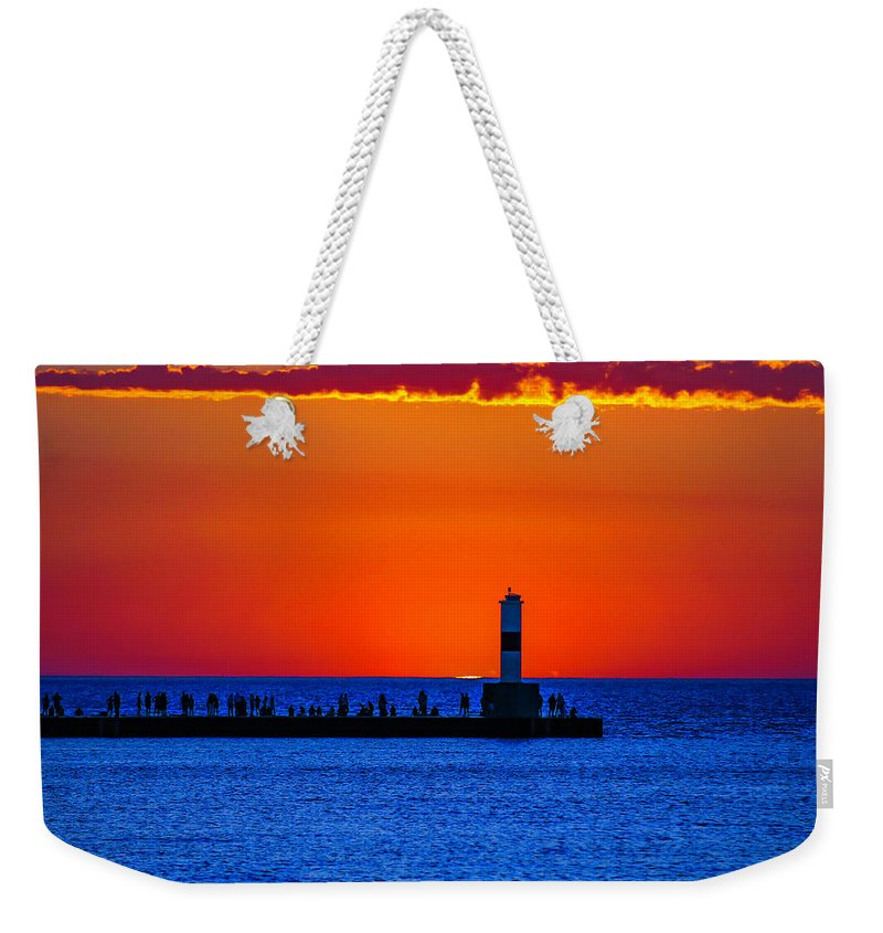 Petoskey Weekender Tote Bag featuring the photograph Petoskey Harboring Sky by J Thomas