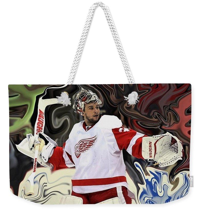 Detroit Weekender Tote Bag featuring the photograph Petr Mrazek by Geraldine Myszenski