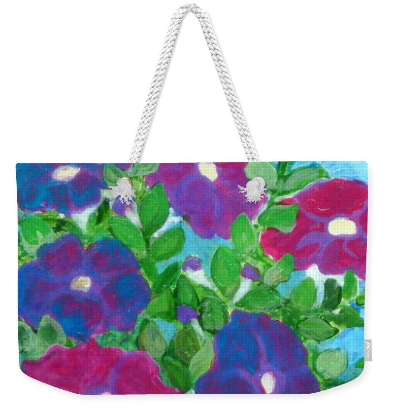 Folkartanna Weekender Tote Bag featuring the painting Petunias by Anna Folkartanna Maciejewska-Dyba