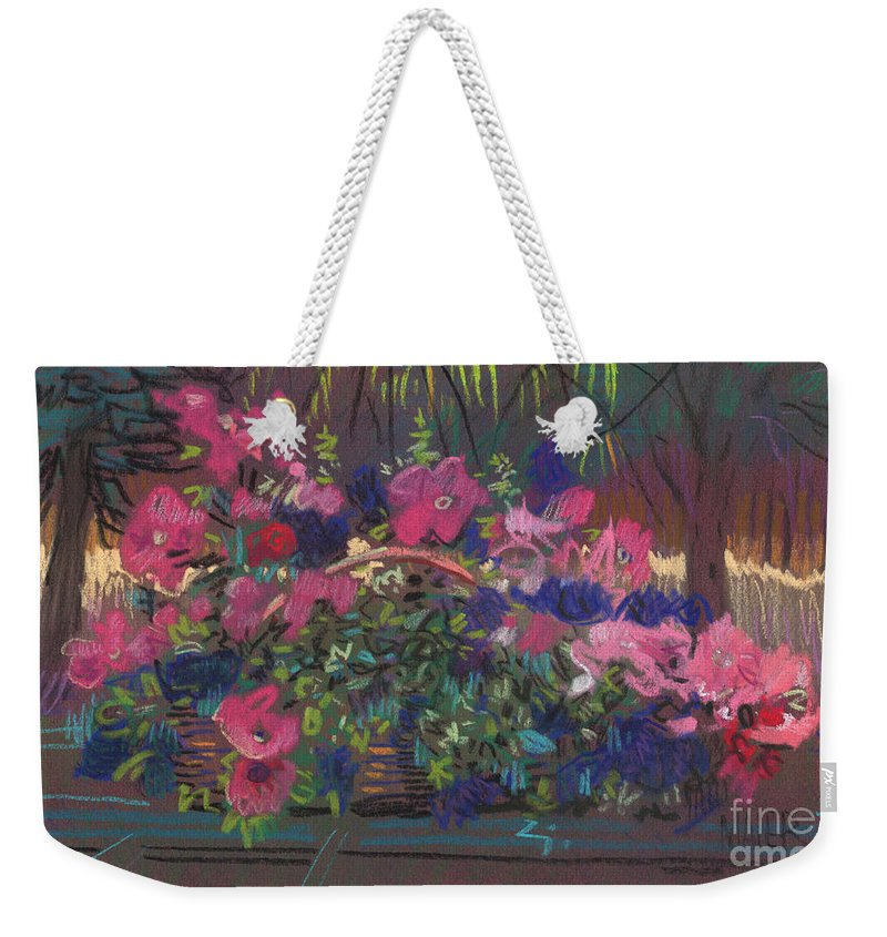 Petunias Weekender Tote Bag featuring the drawing A Basket Of Petunias by Donald Maier