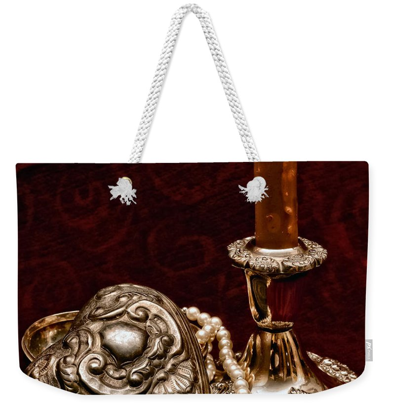 Pewter Weekender Tote Bag featuring the photograph Pewter And Pearls by Christopher Holmes