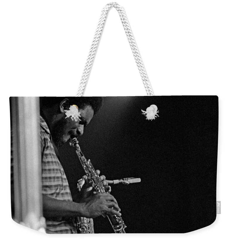Pharoah Sanders Weekender Tote Bag featuring the photograph Pharoah Sanders 1 by Lee Santa