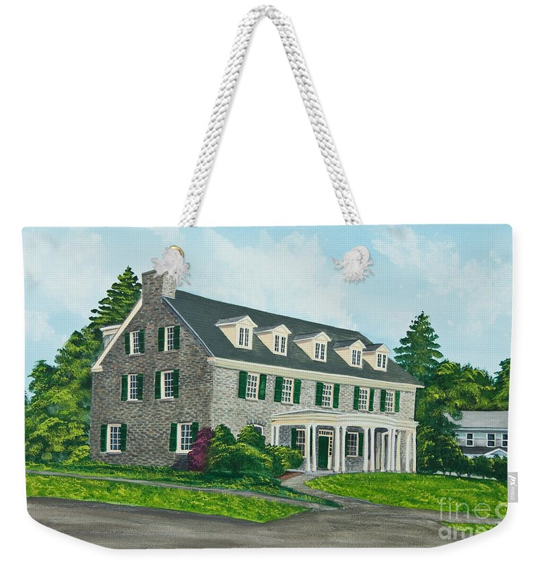 Colgate University Weekender Tote Bag featuring the painting Phi Gamma Delta by Charlotte Blanchard