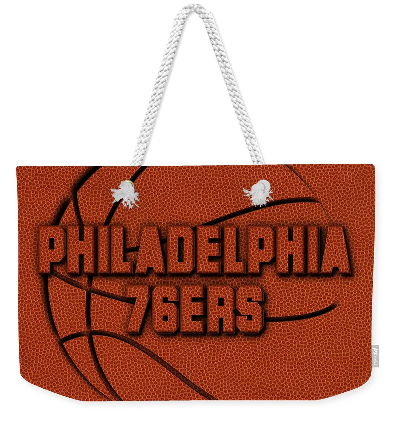 76ers Weekender Tote Bag featuring the photograph Philadelphia 76ers Leather Art by Joe Hamilton