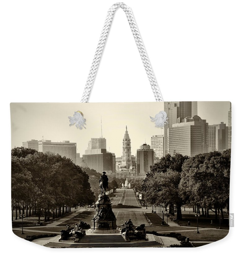 Philadelphia Weekender Tote Bag featuring the photograph Philadelphia Benjamin Franklin Parkway In Sepia by Bill Cannon